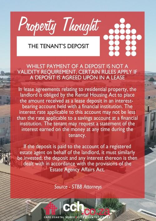 The Tenant's Deposit | CCH (Cape Coastal Homes / City Country Homes)