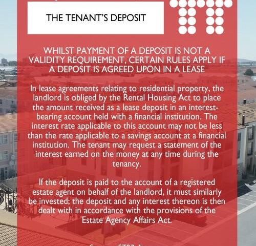 The Tenant's Deposit   CCH (Cape Coastal Homes / City Country Homes)
